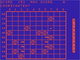 In game image of Zeeslag on the Acorn Atom.